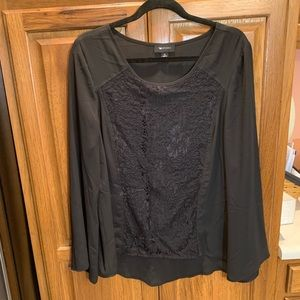 Long sleeve, Black Shirt with Lace, Size XL